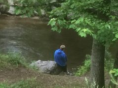 fishing along the mountain stream