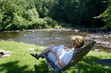Norma relaxing at Moose River